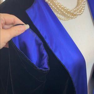 Luxurious black velvet jacket royal blue lining
